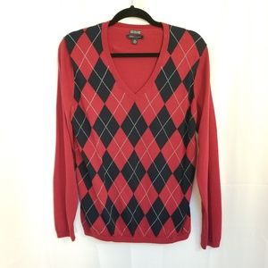 Tommy Hilfiger Argyle Sweater V Neck Red Blue